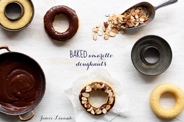 Baked amaretto doughnuts