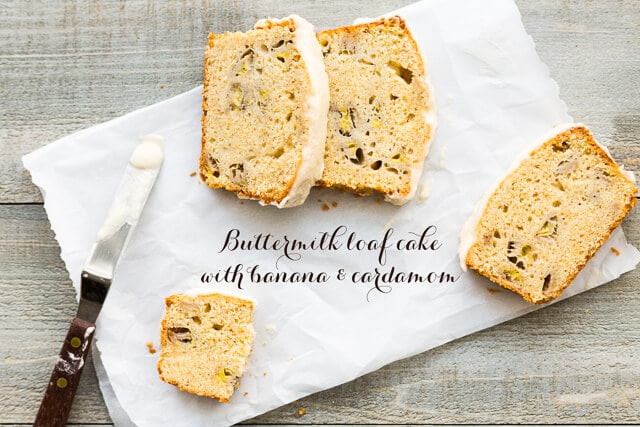 Banana and cardamom buttermilk cake sliced