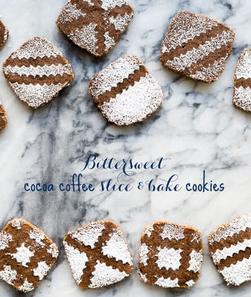 Bittersweet cocoa coffee slice and bake cookies