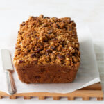 Apple pecan loaf cake with brandy