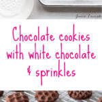 Chocolate cookies dipped in white chocolate and sprinkles stamped with Nordic Ware cookie stamps