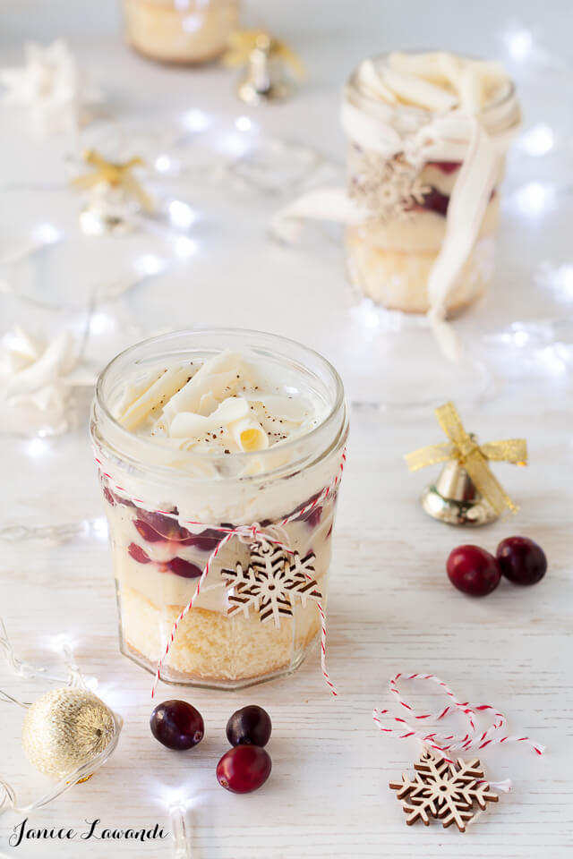 Christmas trifles with boozy eggnog and cranberries
