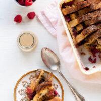 Coffee-raspberry bread pudding