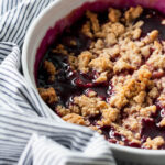 Concord grape and peanut butter crumble topping