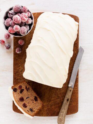 Cranberry chestnut loaf cake