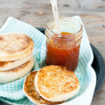 Honey apricot jam with a little tea