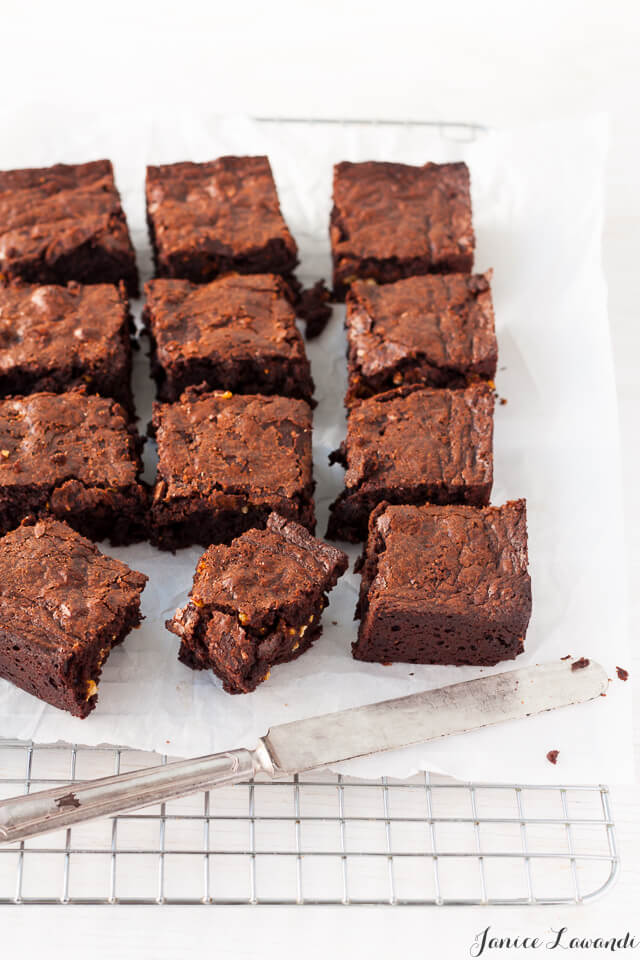 Popcorn brittle brownies are chewy with a good brownie edge