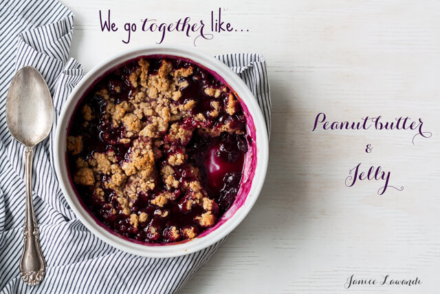 We go together like peanut butter and jelly, a Concord grape and peanut butter crumble