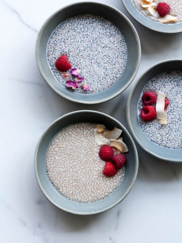 chia pudding flavoured with rosewater and honey and served with berries