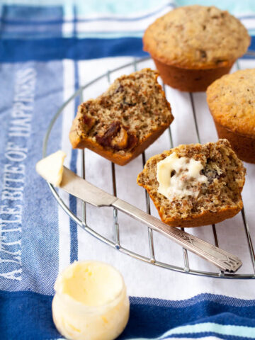 date bran muffins and butter