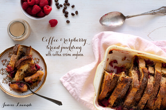raspberry coffee bread pudding