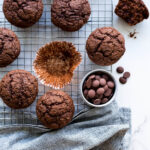 Double chocolate zucchini muffins with Cacao Barry chocolate