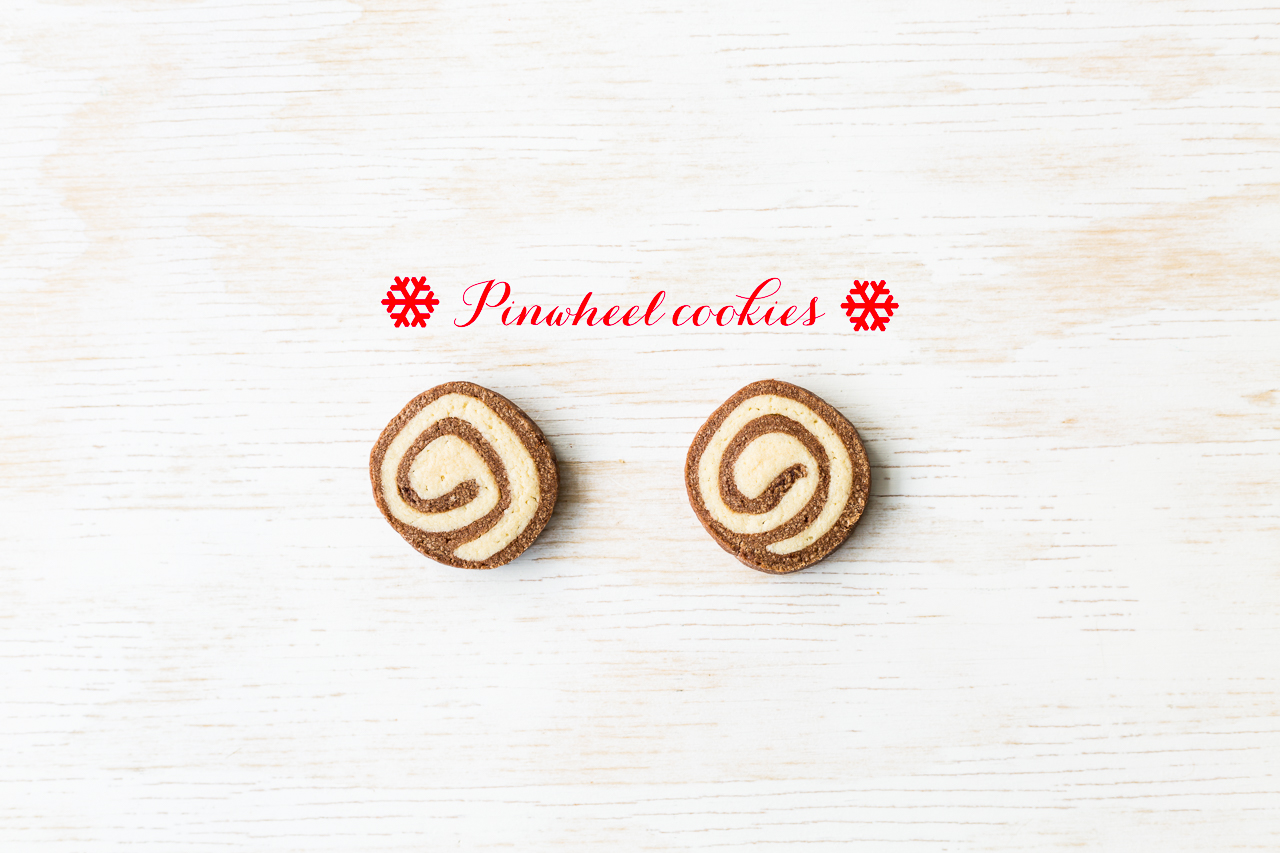 Chocolate and vanilla Pinwheel cookies that are slice and bake so you can make the dough for these cookies ahead of time