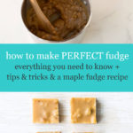 how to make perfect fudge with image of stirring a pot of maple fudge with a wooden spoon to crystallize it and 4 squares of maple walnut fudge