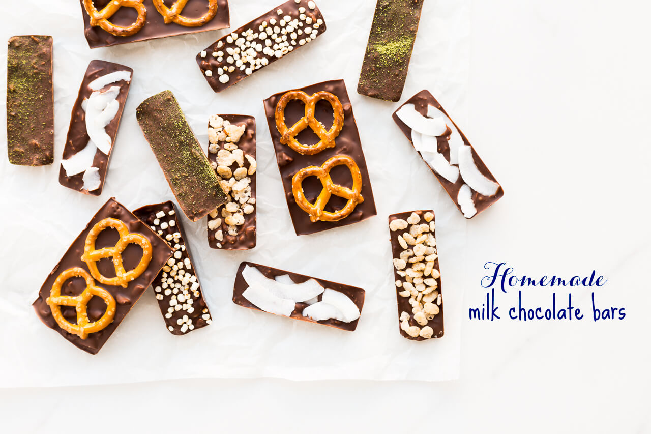 Homemade chocolate bars from scratch! How to make homemade milk chocolate bars with rice krispies, puffed quinoa, pretzels, and coconut