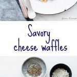Savory cheese waffles made with egg whites served for brunch with mache salad