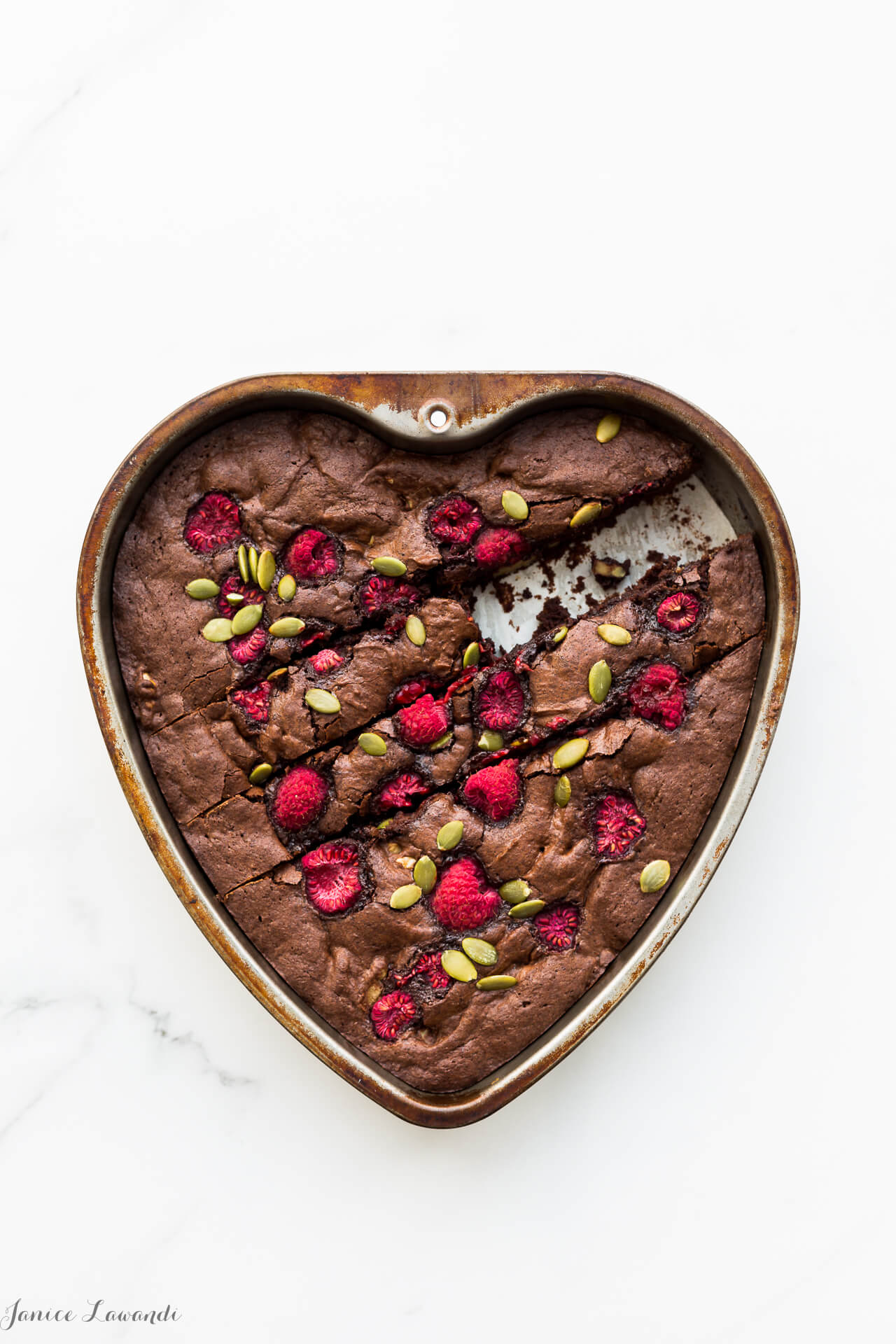 One bowl brownies with walnuts, raspberries and pumpkin seeds