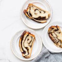 Slices of chocolate babka bread
