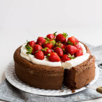 Single layer gluten free chocolate cake topped with whipped cream and fresh strawberries