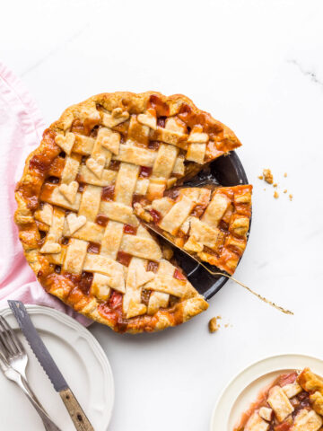 Slice of rhubarb pie with a lattice pie crust