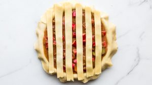 To weave lattice crust start with 6 strips of dough placed vertically side by side evenly spaced