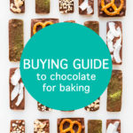 A buying guide to chocolate for baking text on a photo of homemade chocolate bars