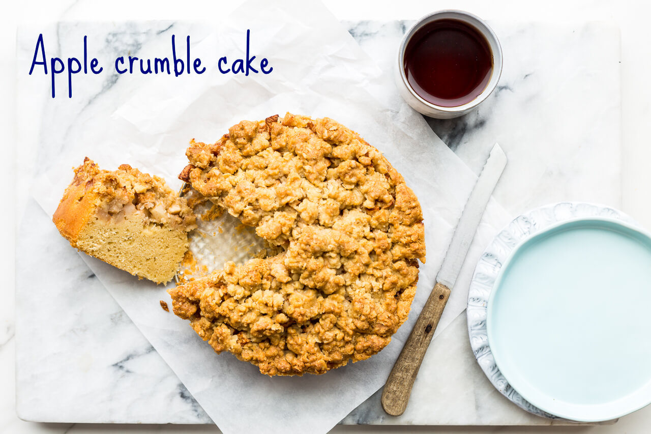 Super easy apple crumble coffee cake is a simple vanilla butter cake topped with a layer of chopped apples and a crumble topping