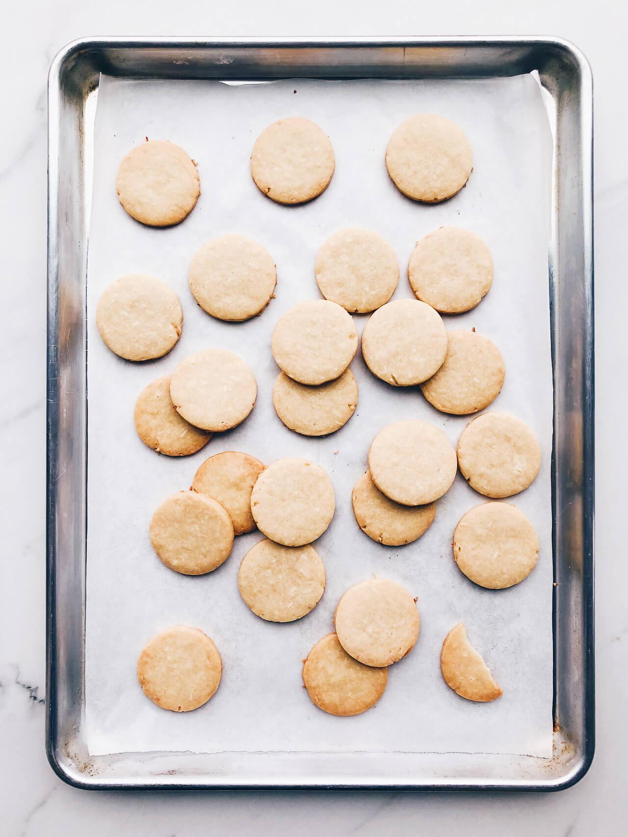 golden coconut shortbread cookies cutout in rounds