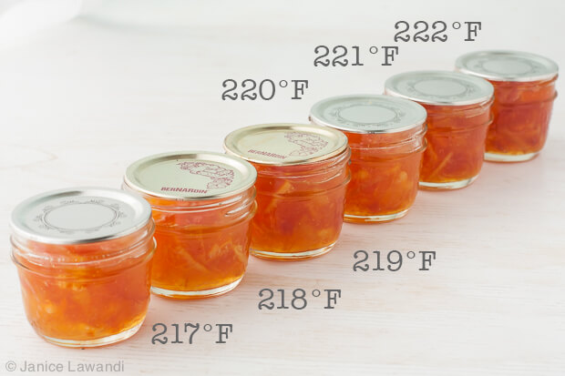 Batches of marmalade cooked between 217ºF and 222ºF to determine the marmalade setting point