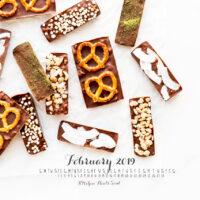 February 2019 desktop calendar of dimensions 1280x800 featuring homemade chocolate bars