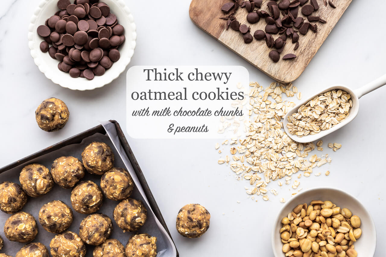 Oatmeal chocolate chunk cookie dough made with rolled oats, chunks of milk chocolate, and salted peanuts
