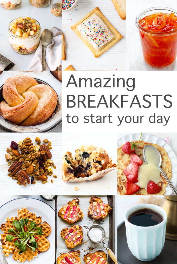 A collage of amazing breakfasts to start your day, yogurt parfait, homemade pop tarts, three fruit marmalade, brioche buns, gingerbread granola, blueberry muffins, crêpes with strawberries and pastry cream, cheese waffles, bostock, and Turkish coffee