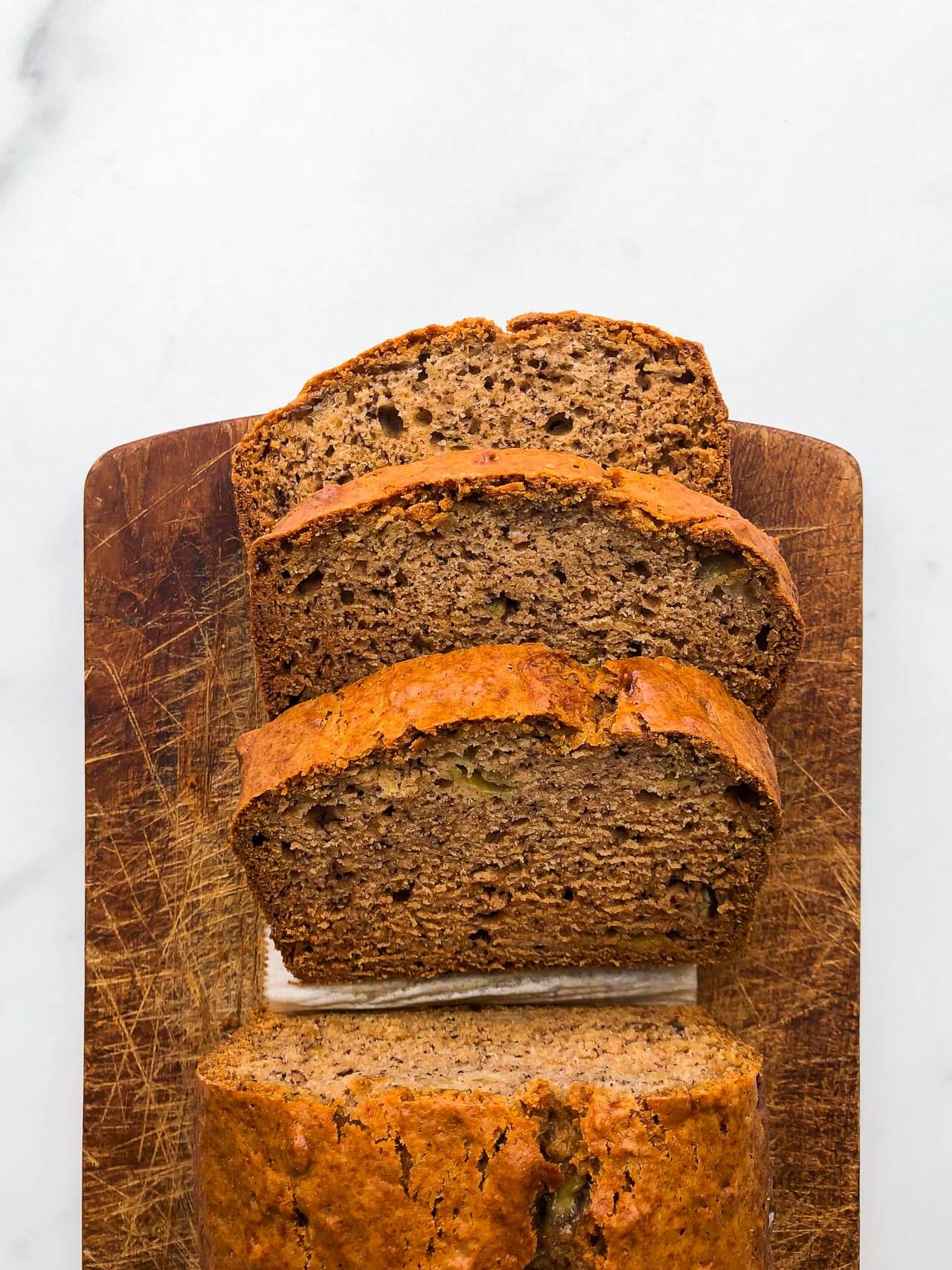 Sliced vegan banana bread (eggless)