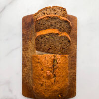 Sliced vegan banana bread