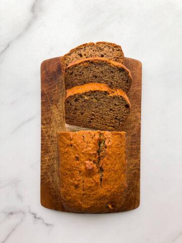 Sliced vegan banana bread