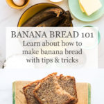 Banana bread ingredients and sliced loaf cake on wood cutting board