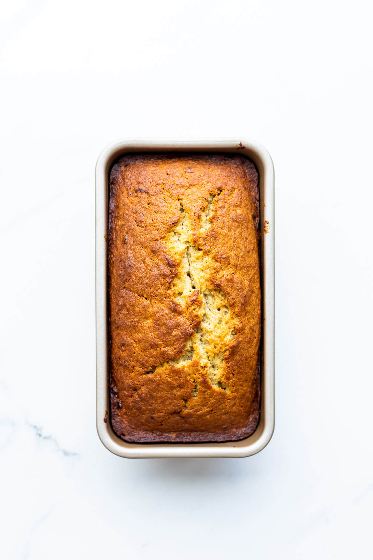 Baked banana bread in a loaf pan