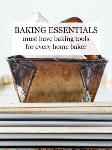 Stacks of sheet pans and vintage loaf pans