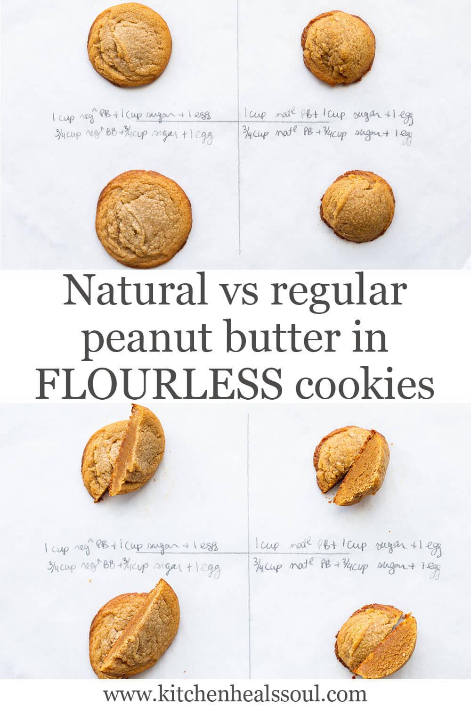 Natural vs regular peanut butter in flourless peanut butter cookies