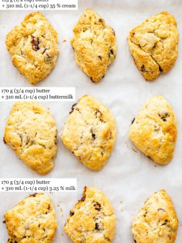 Baked scones made with different liquids: three made with cream compared to three made with buttermilk (which are lighter in colour) and three made with whole milk