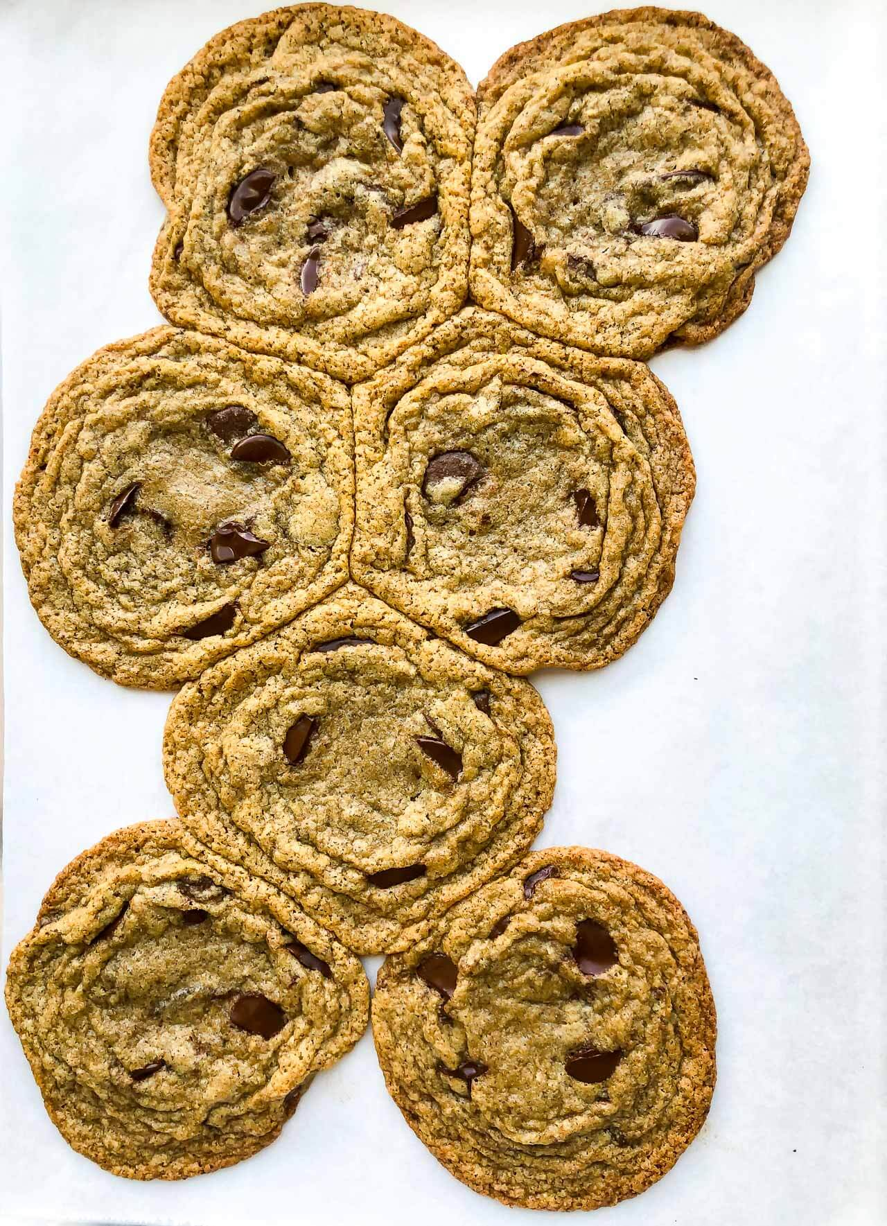 Image to show chocolate chip cookies made with 100 % buckwheat flour spread out as they bake and merge into one big cookie