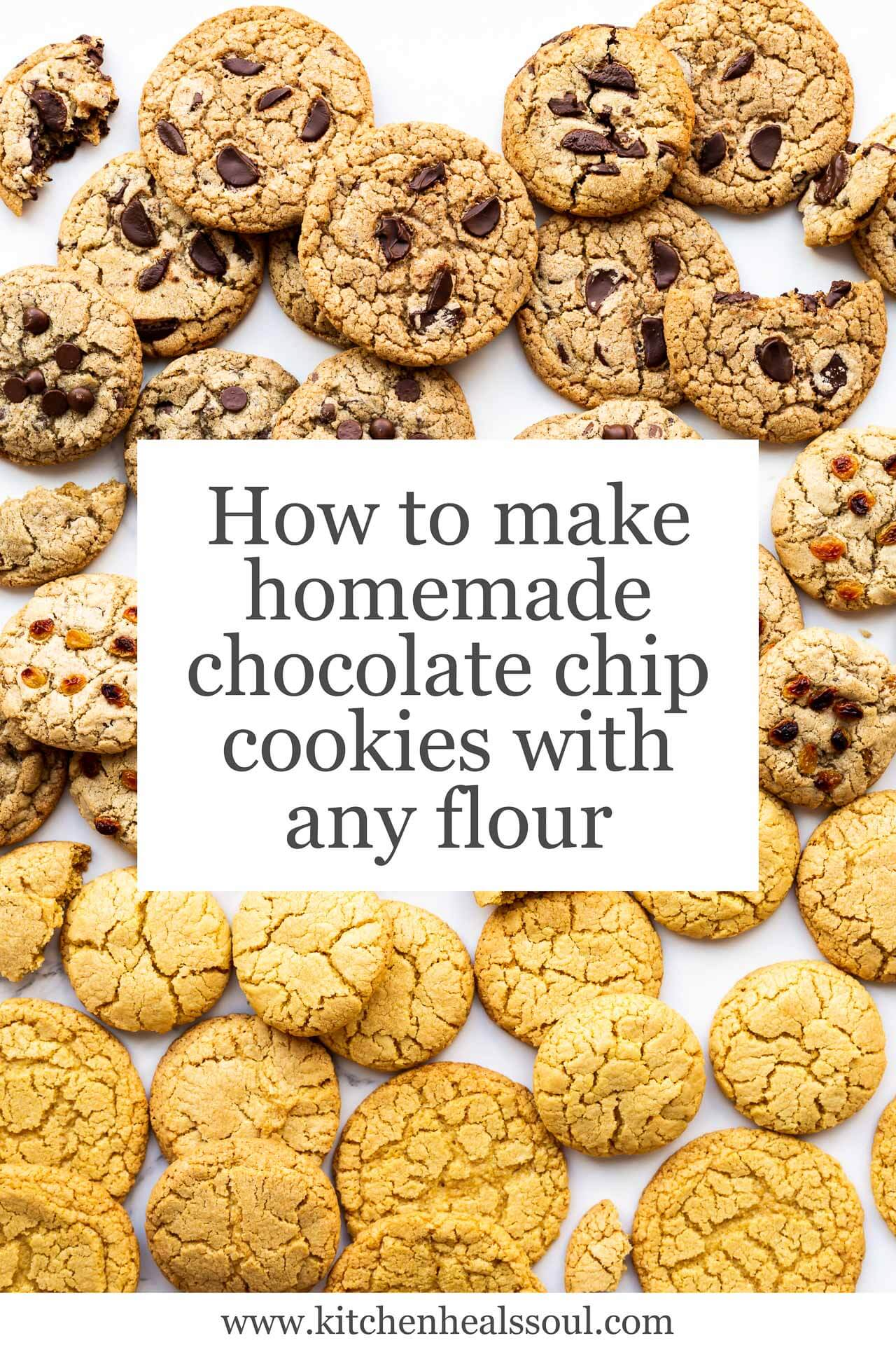 Image filled with homemade chocolate chip cookies made with different flours, including whole wheat flour, buckwheat flour, oat flour, and even corn flour (producing yellower cookies)