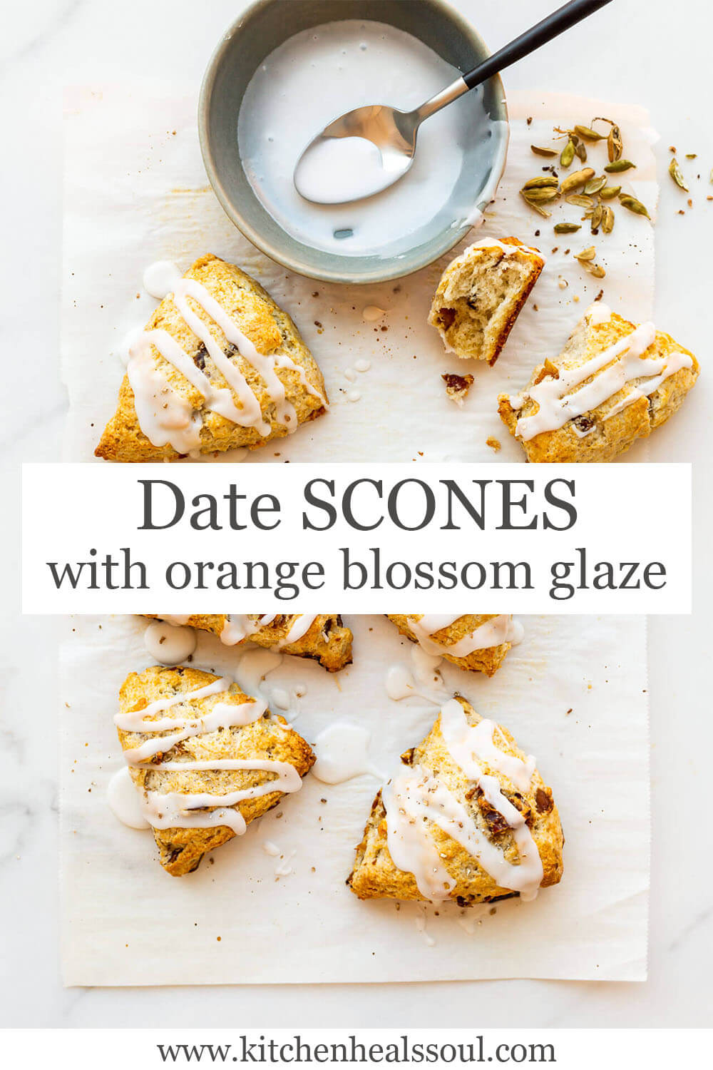 Cardamom date scones drizzled with orange blossom icing and topped with crushed cardamom seeds from green cardamom pods