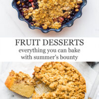 Fruit desserts, everything you can bake with summer's bounty featuring a blueberry rhubarb crisp on top and an apple cake on the bottom