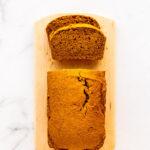 Healthier pumpkin bread (eggless, dairy-free, vegan, less sugar)