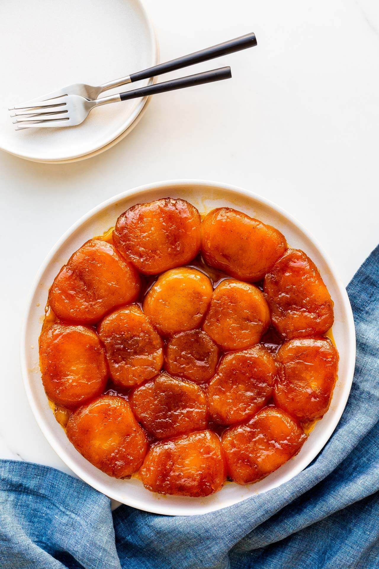 French apple tarte tatin warm from the oven and ready to serve.