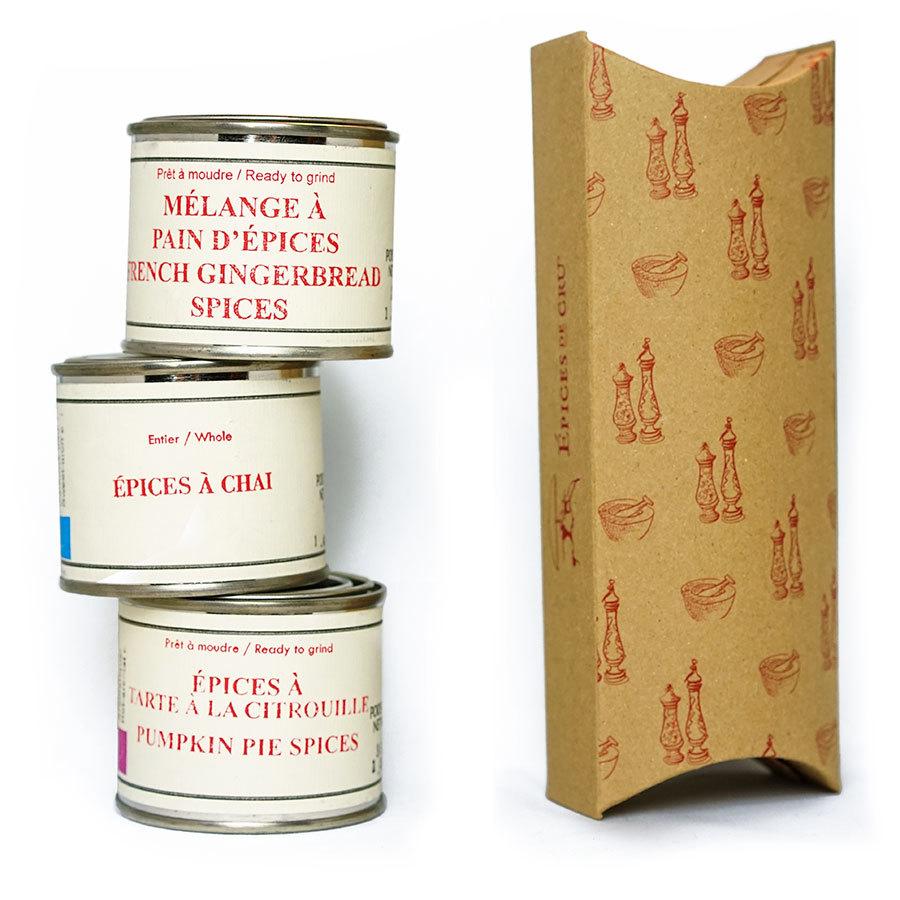 Epices de cru_Trio-Dessert-spice cans stacked