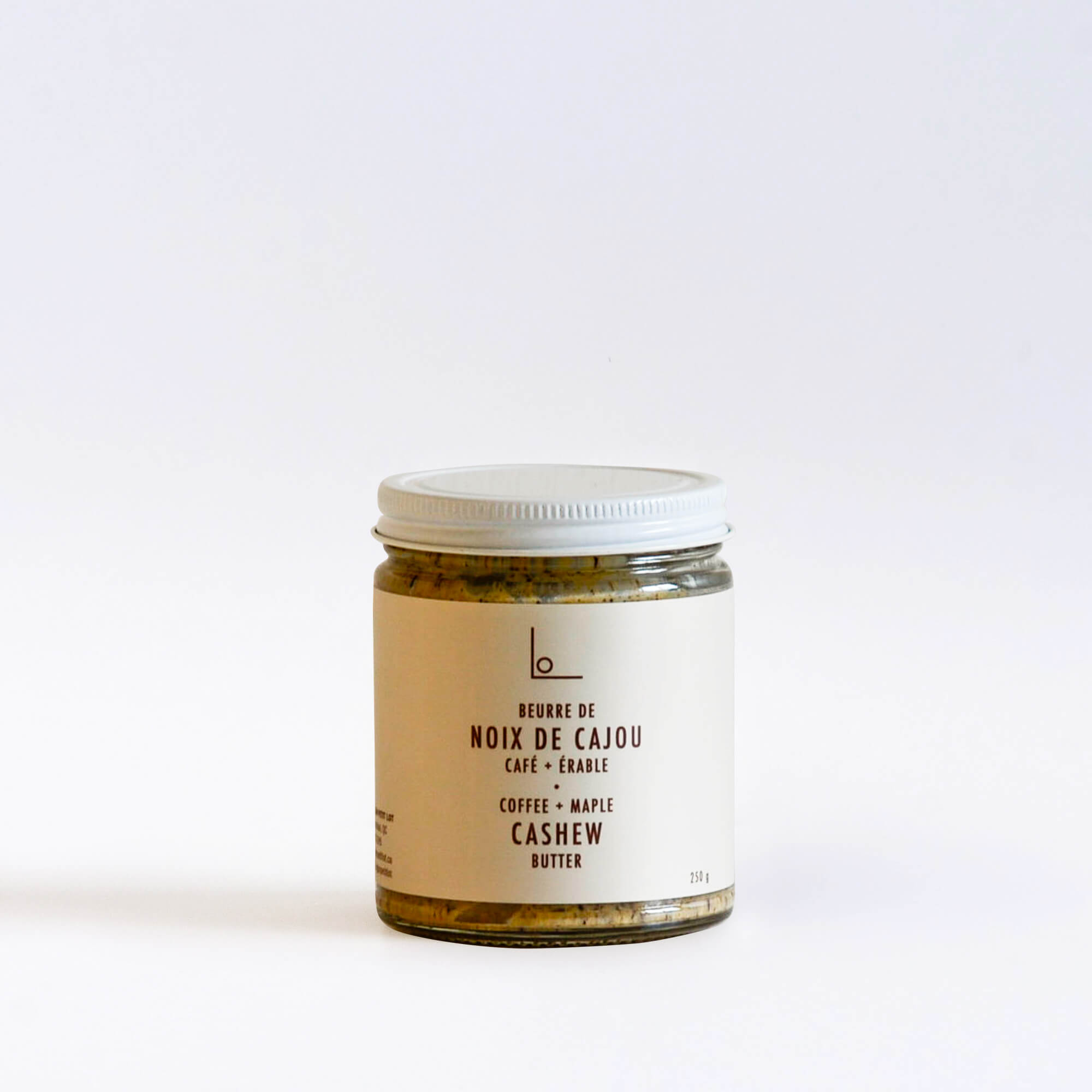 A jar of coffee maple cashew butter from Logan Petit Lot