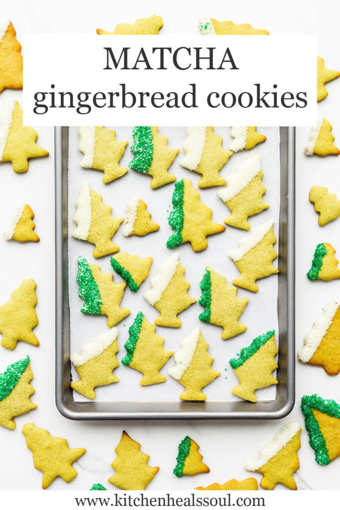 Green coloured matcha gingerbread cookie cutouts shaped like trees, dipped in white chocolate and sprinkles.